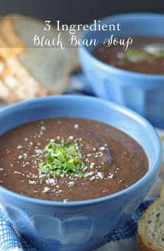 This 3 ingredient black bean soup is easy to make. It's healthy, full of protein and flavor, and can be thrown together quickly! | honeyandbirch.com