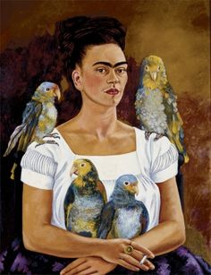 "Frida Kahlo - Me and my parrots, 1941—""I suffered two grave accidents in my life…One in which a streetcar knocked me down and the other was Diego."""