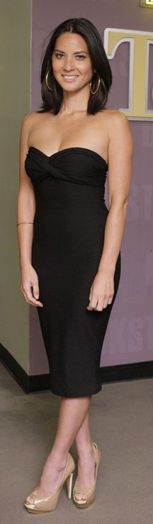Olivia Munn in an ASOS Strapless Dress with Twist Front