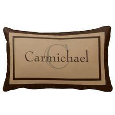 Modern Khaki/Brown Monogram Name Accent Pillow