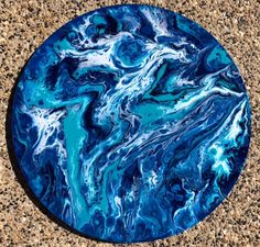 *SOLD* Abstract Fluid Acrylic Painting 'Blue Moon' on stretched circle canvas by WaterhousePaintings on Etsy