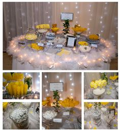 Candy Bar. Candy Table. Candy Buffet. Yellow and Grey.