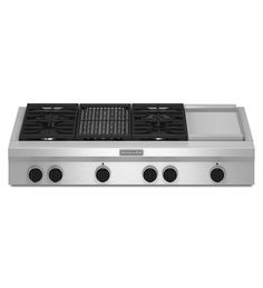 """Kitchenaid 48"""" 4 burner, grill, griddle rangetop. $3549  MAT IS ON BOARD FOR THIS ONE, WOOHOO!  Designed for large, open kitchens this 48-inch rangetop gives you both a commercial look and performance. The four-burner cooking surface includes two Ultra Power™ Dual-Flame Burners that can reach a maximum output of 20,000 BTUs. And with the Even-Heat™ Gas Grill and Even-Heat™ Griddle you can prepare crepes in the morning and steaks at night."""