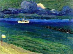 Wassily Kandinsky - Seascape with Steamer, 1906 Franz Marc, Klimt, Abstract Landscape, Abstract Art, August Macke, Popular Paintings, Wassily Kandinsky Paintings, Art Abstrait, Art Plastique