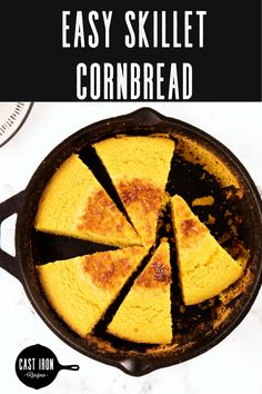 Who doesn't love a warm slice of cast iron skillet cornbread? If you have been wanting to learn how to cook cornbread in cast iron pans then look no further. Cornbread is so much better when cooked in cast iron skillets. My suggestion is to start with a easy cornbread recipe like mine and what you will end up with is a warm, crispy and soft bread that will go with any meal! You'll easily want to make this with every meal. #castironrecipes #castironbread #castironbaking Easy Cornbread Recipe, How To Make Cornbread, Sweet Cornbread, Cast Iron Skillet Cornbread, Iron Skillet Recipes, Cast Iron Recipes, Cast Iron Bread, Cast Iron Cooking, Skillets