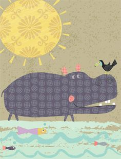 Sweet hippo and friends. This is an open edition print of an original illustration by Amy Schimler-Safford. It is printed with archival inks