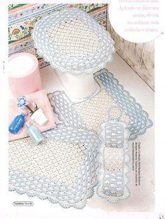 White and blue crochet bathroom set ❤️LCB-MRS ❤️ with diagrams. ---  B I G a r t e s . c o m: JOGO DE BANHEIRO EM CROCHÊ COM LINHA