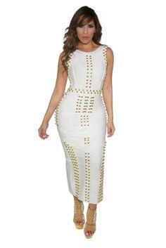White Bandage Gold Accent Sleeveless Bodycon Maxi Dress. Elegant Maxi  DressMaxi Dress WeddingSexy Maxi DressWhite Maxi DressesBodycon ... 8878559f2e45