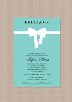 Tiffany Blue Bridal Shower Invitations - Inspired by Tiffany Blue Box on Etsy, $15.00