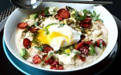 Savoury Oatmeal with Mascarpone, Sunflower Pesto, Chorizo and Poached Egg   Nancy's Cravings