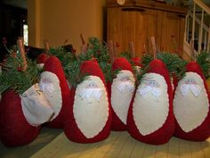 Woolly Cute Santas! - no pattern - but easy to create on your own, with their backpacks of pine and cinnamon stick.