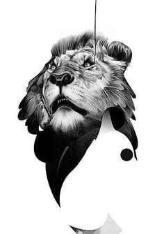 ink drawing of lion