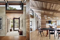 Interior entry and dining room views Lake Flato, Wood Columns, Stone Cladding, Stair Steps, Building Materials, Building Ideas, Prefab Homes, Habitats, Architecture Design