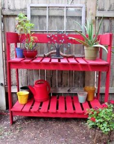 Old Pallets Ideas red painted pallet potting bench 17 DIY Pallet Furniture Ideas to Make Home Creative Pallet Potting Bench, Potting Tables, Pallet Crates, Old Pallets, Pallets Garden, Recycled Pallets, Wooden Pallets, Pallet Wood, Pallet Shelves