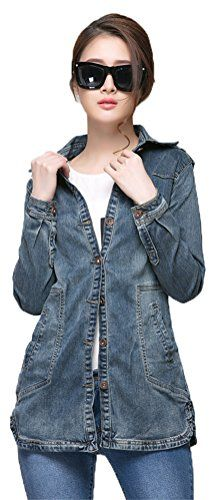 Eleganlife Women's Long Sleeve Slim Fit Casual Long Denim Jacket Jean Coat ** More info could be found at the image url.
