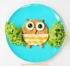 Owl Lunch... a fun & healthy lunch for kids from KitchenFunWithMy3Sons.com