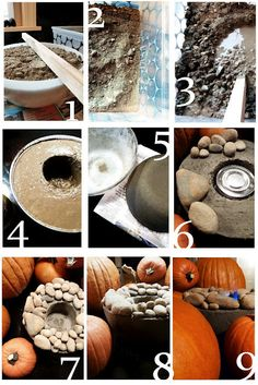 31 minute project  You'll need:  Sakrete Quickset Concrete  a bunch of rocks (perhaps dug up from your yard)  a plastic bowl  a large canned good  chafing dish gel fuel pack  PAM cooking spray  newspaper  plastic tub for mixing concrete  stick to stir concrete    You are going to create one of these  (which, FYI, Restoration Hardware doesn't sale anymore,  hence why we are making our own)