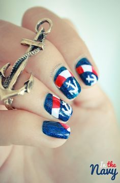 Nail art in the navy.  www.pacificbliss.com