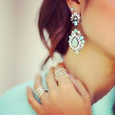 The Best Spring Accessories For 2015 Jewelry Box, Jewelry Accessories, Fashion Accessories, Fashion Jewelry, Women's Fashion, Silver Jewelry, Mint Earrings, Turquoise Earrings, Cheap Earrings