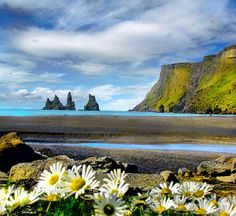 Reynisfjara basalt columns. View from Vik i Myrdal, Southwest Iceland. I've been there, it's a beautiful place.