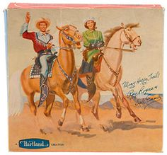 4colorcowboy:  Box for Roy Rogers and Dale Evans toy figurines from Hartland, 1950s.  Sunset Sold Separately