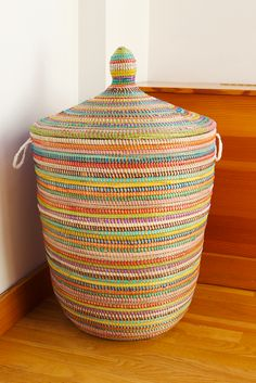 Handmade in modern African style, our Senegalese baskets, bins and laundry hampers beautifully blend functional storage with artful decor. Basket Weaving, Hand Weaving, African Furniture, Textiles, Laundry Hamper, Home Living, Decoration, Handmade, Rainbow