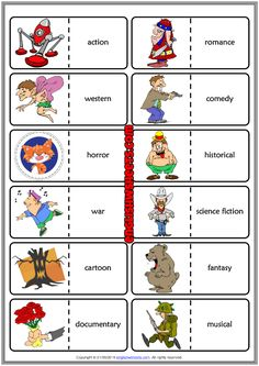 Types of Films ESL Printable Dominoes Game For Kids - English Classes - Pins English Games For Kids, Kids English, English Lessons, English Class, Learn English, Vocabulary Worksheets, Worksheets For Kids, English Vocabulary, Film Genres