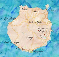 Carte des lieux à voir sur l'#île de #GranCanaria #GrandeCanarie. #Canaries #Espagne