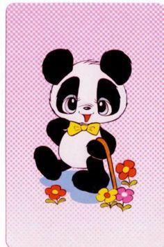 vintage SWAP CARDs 1970s blank back Japanese cute little pandas bears