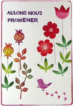ポストカード お花と小鳥
