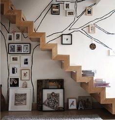 Neverending memory tree - via poppytalk from Ikea Family Magazine Hall Deco, Interior Inspiration, Design Inspiration, Interior Ideas, Design Ideas, Escalier Design, Memory Tree, Stairway To Heaven, Deco Design
