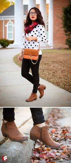 This fall to winter look is provided by one of our favorite bloggers @joryckyt! Pair the adorable Carlos by Carlos Santana Brie booties with black skinny jeans, a polka-dot sweater, colorful scarf and your go-to colorful cross body purse. Just too cute!