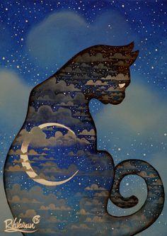 """ Original Painting""by Raphael Vavasseur-Nostalgia Cat"" I Love Cats, Crazy Cats, Cute Cats, Art Japonais, Digital Art Girl, Cat Paws, Moon Art, Cat Tattoo, Wildlife Art"