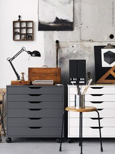 IKEA home office inspiration Office Workspace, Office Decor, Ikea Home Office, Industrial Workspace, Rustic Industrial, Industrial Lighting, Industrial Office Storage, Office Ideas, Office Storage Ideas
