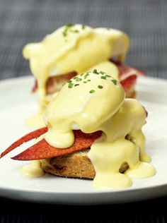 Lobster Eggs Benedict on Chive Biscuits