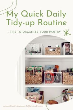 Cleaning Routine | Declutter & Organize Pantry, Cleaning Motivation and Tips | I'm sharing my daily cleaning routine, y'all! Come clean with me as I do my daily tidy-up, track it in Notion, and finally find the motivation to declutter and organize my pantry. #cleaningroutine #cleaning #declutter #intentionalliving #simpleliving #mindfulhome #minimalisthome Daily Cleaning, Green Cleaning, Declutter, Organize, Clean Pots, Eco Friendly House, Tidy Up, Clean Living, Pantry Organization
