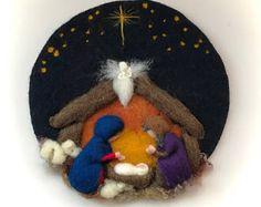 Bild: Josef, Maria, Jesus, Engel, Weihnachten. Nadel gefilzt. Nasse Felted.Waldorf
