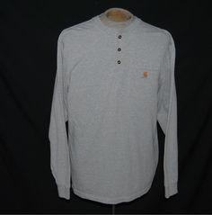 Carhartt Henley Shirt M Mens Solid Gray 100% Cotton Long Sleeve #Carhartt #Henley Buy Now $13.95