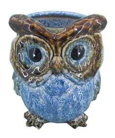 Take a look at this Blue Tall Ceramic Owl Vase by Home Essentials and Beyond on #zulily today!