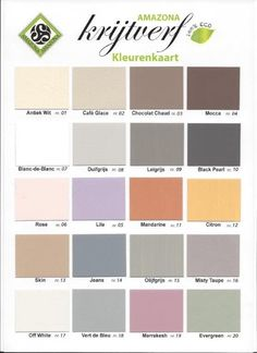 Kleurenkaart Amazona krijtverf, A4 Masonry Paint, Anna, Painted Floors, Recycled Furniture, Paint Finishes, Chalk Paint, Decoration, Color Combos, Color Inspiration