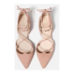 Nude Velvet Lace-up Pointed Shoes (170 BRL) ❤ liked on Polyvore featuring shoes, flats, nude flat shoes, lace up flats, pointy-toe flats, flat pumps and pointed shoes