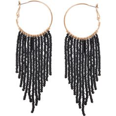 Humble Chic NY Fringe Tassel Hoops (£29) ❤ liked on Polyvore featuring jewelry, earrings, accessories, серьги, black, tassel earrings, dangle hoop earrings, long tassel earrings, long dangle earrings and beaded tassel earrings