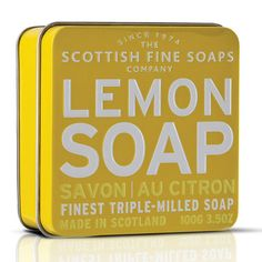 Lemon Soap, Scottish Fine Soap Company by Teca Brand Packaging, Packaging Design, Cosmetic Packaging, Product Packaging, Branding, Lettering, Typography, Green Label, Lemon Soap