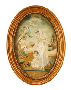 English Silk Embroidery, Woman & Child with Dog : Lot 11. Estimated $300-$500