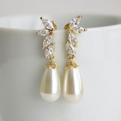 Pearl Earrings Cubic Zirconia Stud Earrings by poetryjewelry, $38.50