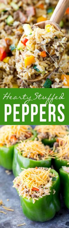 Hearty Stuffed Peppers. [Omit rice.  Maybe add chopped tomatoes to stuffing mixture and maybe a little quinoa? ]