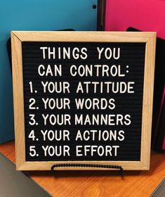 Classroom Quote of the Day! Control what you can control. #teachergram #quoteoftheday #letterboard #positivity