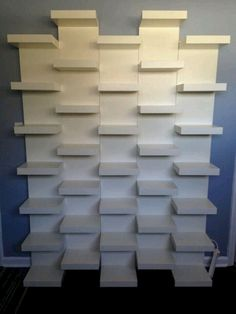 IKEA LACK White Wall shelf unit Such a simple way to get a very unique and striking bookshelf design Ikea Lack book shelves mounted together in a staggered pattern to c. White Wall Shelves, Wall Shelf Unit, Ikea Shelves, Closet Shelves, Shallow Shelves, Ikea Closet, Shelving Units, Bookshelves Ikea, Closet Wall