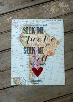 Seek Me Vintage Map Scripture Print