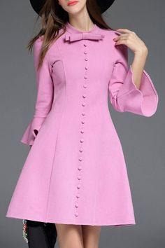 Biemei Light Purple Bow Collar Bell Sleeve Dress | Mini Dresses at DEZZAL